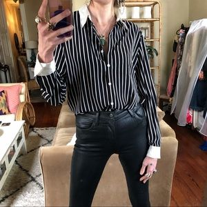 Vintage black and white stripe blouse